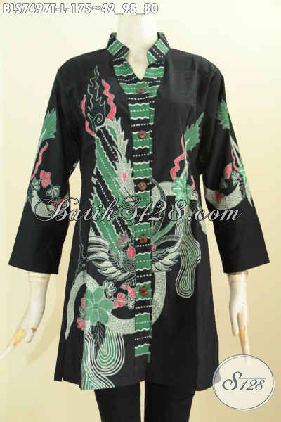 Blus Batik Sashi Kerah Shanghai Kancing Depan, Proses batik Tulis Asli, bahan Katun Tanpa Furing