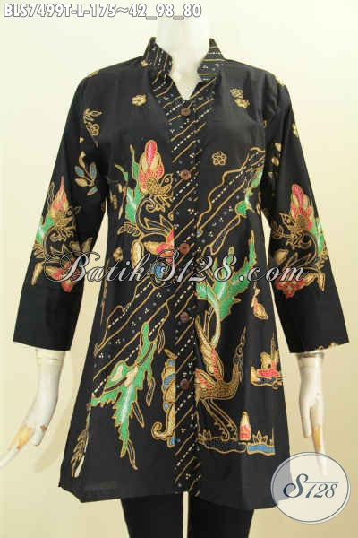 Produk Baju Batik Blus Shasi Keren Trend Model 2017 Dengan Kerah Shanghai Kancing Depan, Motif Unik Proses Tulis Harga 175 Ribu, Size L