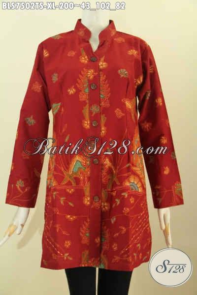 Batik Baju Kerja Kancing Depan Kerah Shanghai, Blus Sashi Elegan Warna Merah Motif Keren Proses Tulis Soga Harga 200K, Size XL