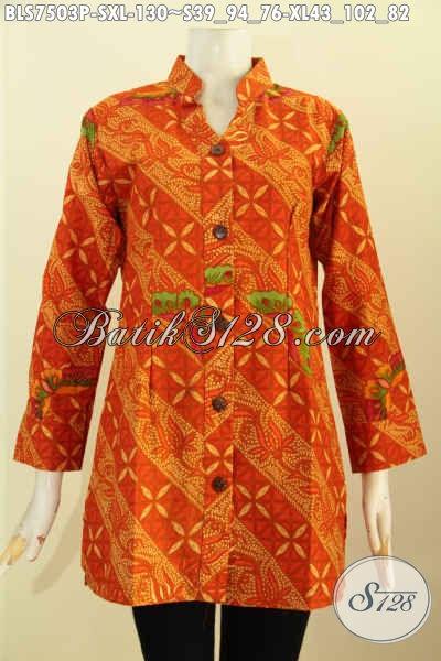 Jual Blus Batik Printing Modis Keren Warna Cerah, Pakaian Batik Jawa Masa Kini Kerah Shanghai Kancing Depan, Size S – XL