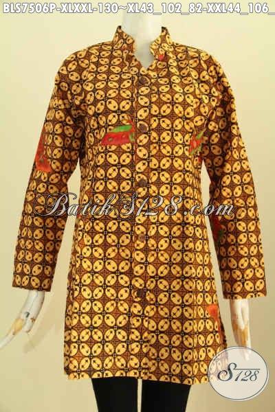 Sedia Baju Batik Wanita Klasik, Pakaian Batik Solo Elegan Proses Printing, Blus Sashi Batik Kerah Shanghai Hanya 130K, Size XL – XXL