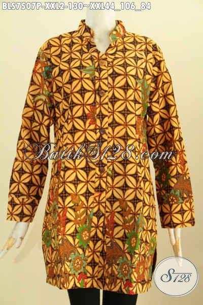 Baju Batik Wanita Gemuk, Busana Batik Big Size, Pakaian Batik Blus Sashi Kerah Shanghai Untuk Penampilan Lebih Berkelas