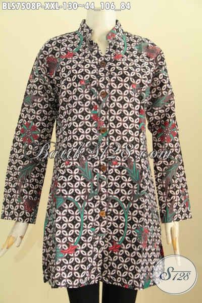 Baju Blus Elegan Berkelas Motif Klasik Di Jual Online, Pakaian Batik Model Sashi Kwalitas Istimewa Harga Biasa Proses Printing, Big Size Spesial Buat Wanita Karir Gemuk [BLS7508P-XXL]