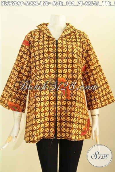Baju Batik Solo Klasik, Blus Resti Dengan Desain Kerah Langsung Dan Kancing Depan, Modis Dan Istimewa, Size M – XXL