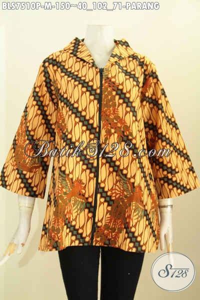 Batik Kerja Desain Resleting Depan, Blus Resti Klasik Printing Dengan Kerah Shanghai, Penampilan Lebih Modis, Size M