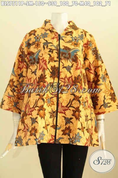 Pakaian Batik Jawa Etnik, Blus Resti Kerah Shanghai Pakai Resleting Depan Berkelas Harga 150K, Size S – M