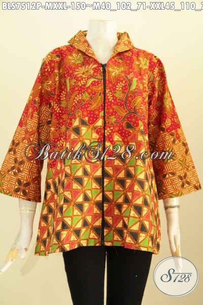 Baju Batik Motif Kombinasi, Blus Resti Motifg Motif Klasik Printing Kerah Langsung Dengan Resleting Depan, Tampil Bergaya [BLS7512P-M]