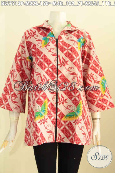 Blus Batik Modis Halus Keren Buatan Solo, Busana Batik Modern Untuk Kerja Wanita Muda Masa Kini, Size M Harga 150K