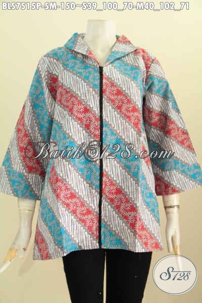 Baju Batik Elegan, Busana Batik Kerah Langsung Resleting Depan, Pakaian Batik Blus Resti Trend Mode Wanita Masa Kini [BLS7515P-M]