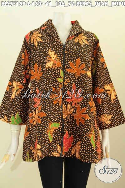 Produk Busana Batik Wanita Terkini, Blus Resti Motif Beras Utah Kupu Daun Pepaya, Baju Batik Modis Kerah Langsung Dengan Resleting Depan 150 Ribu Saja [BLS7516P-L]