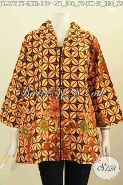 Toko Baju Batik Online, Sedia Blus Resti Motif Kawung Model Kerah Langsung Di Lengkapi Resleting Depan, Lebih Nyaman Dan Modis, Size L – XXL
