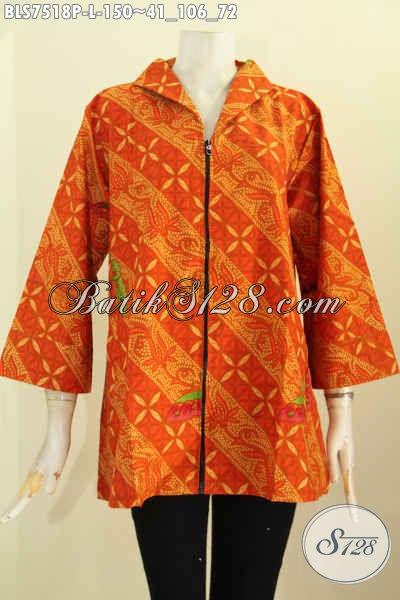 Jual Busana Batik Elegan, Blus Resti Batik Printing Motif Bagus Kwalitas Halus, Pakaian Batik Kerah Langsung Dengan Resleting Depan Harga 150K [BLS7518P-L]