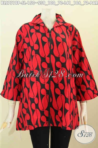 Batik Monokrom Elegan Merah Hitam, Baju Batik Solo Blus Resti Elegan Untuk Penampilan Menawan, Size S – L