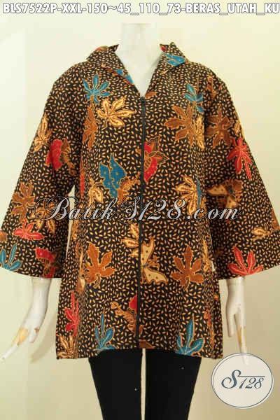 Pakaian Batik Kerja Wanita Gemuk 3L, Blus Resti Batik Printing Motif Beras Utah Kupu Daun Pepaya Kwalitas Istimewa Harga Biasa, Pakai Kerah Langsung Nan Berkelas [BLS7522P-XXL]