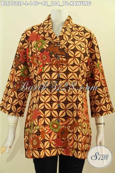 Jual Blus Batik Ofi, Baju Batik Klasik Proses Printing Nan Istimewa Buatan Solo Asli Untuk Tampil Gaya Dan Modis, Size L