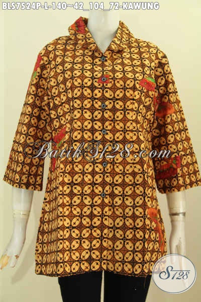Blus Batik Ofi Elegan Motif Kawung Klasik, Baju Batik Istimewa Buatan Solo, Pakaian Batik Berkelas Dengan Ofneisel Krah Dan Lengan, Tampil Menawan [BLS7524P-L]
