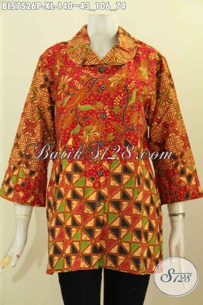 Pakaian Batik Wanita Dewasa, Blus Ofi Motif Unik Proses Printing Dengan Ofneisel Kerah Size XL, Penampilan Makin Modis