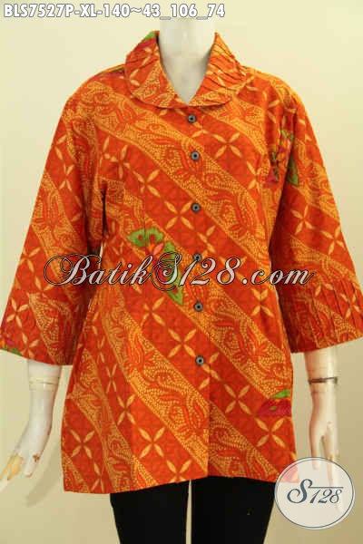 Blus Batik Orange, Baju Batik Modis Kekinian Kwalitas Istimewa Untuk Kerja Dan Acara Resmi Hanya 140K, Size XL