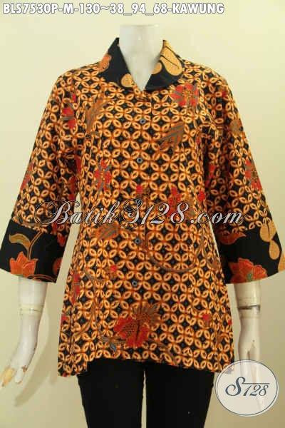 Baju Blus Bulan Bahan Batik Klasik Printing, Hadir Dengan Desain Kerah Bulat Kombinasi 2 Waran Dan Motif Hanya 130K, Size M