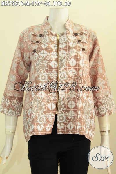 Baju Blus Ayus Warna Pastel, Pakaian Batik Kerja Wanita Relseting Depan Motif Elegan Proses Cap, Di Jual Online 175K, Size M