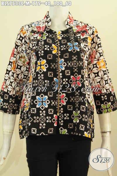 Sedia Pakaian Batik Modern, Blus Ayus Istimewa Bahan Adem Dengan Resleting Depan Dan Kerah Shanghai Harga 175K, Size M