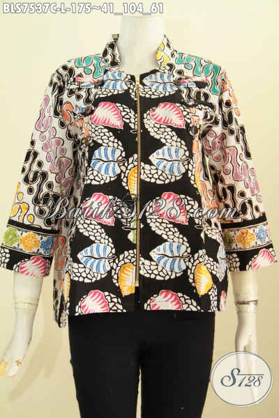 Jual Baju Batik Kerja Wanita Karir, Blus Ayus Resleting Depan Motif Unik Proses Cap Warna Berkelas 175K [BLS7537C-L]