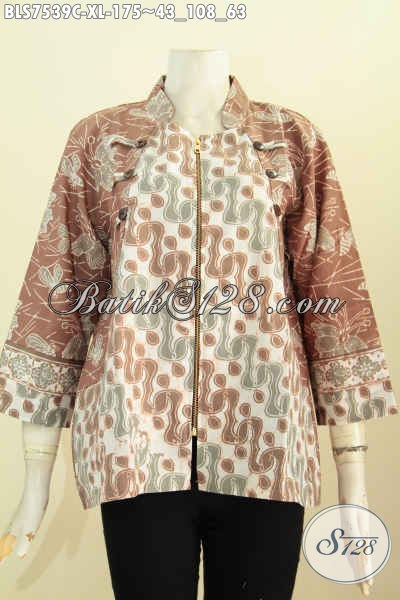 Baju Batik Blus Wanita Dewasa, Pakaian Batik Kerah Shanghai Dengan Resleting Depan Berpadu Motif Terbaru, Penampilan Lebih Anggun [BLS7539C-XL]