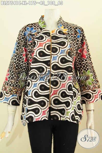 Pusat Baju Batik Wanita Online, Sedia Blus Ayus Keren Desain Kerah Shanghai Modis Berpadu Resleting Depan Harga 175 Ribu [BLS7541C-XL]