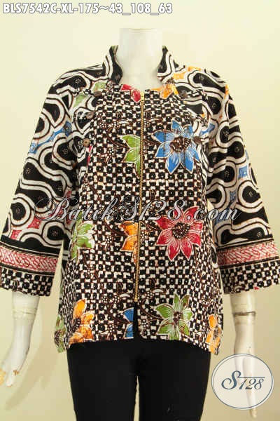 Toko Baju Batik Online Pilihan Komplit, Blus Ayus Batik Modern Proses Cap Motif Unik Desain Menarik, Penampilan Makin Apik, Size XL