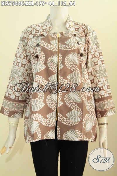 Design Baju Batik Wanita Atasan, Blus Ayus Kerah Shanghai Nan Istimewa Dengan Resleting Depan Bermotif Trendy Proses Cap Harga 175K Ukuran Jumbo Untuk Wanita Gemuk [BLS7544C-XXL]