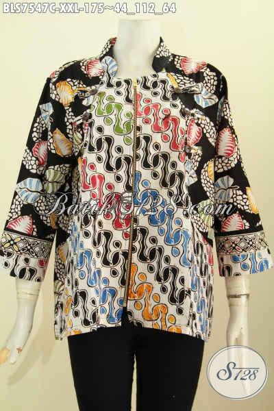 Batik Baju Kerja Ukuran Jumbo, Blus Ayus Model Kerah Shanghai Motif Kombinasi Proses Cap Bahan Adem Dengan Resletinf Depan Hanya 175K [BLS7547C-XXL]