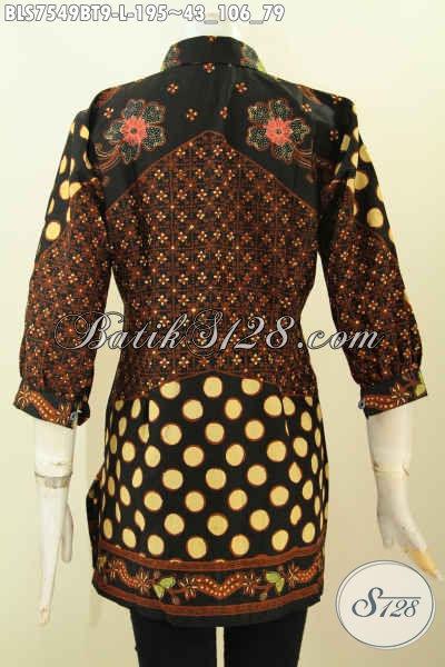 Batik Baju Kerja Elegan Motif Klasik, Blus Pastion Model Kerah Dengan Lengan Paspol, Tampil Berkelas Nan Trendy Harga 195K [BLS7549BT-L]