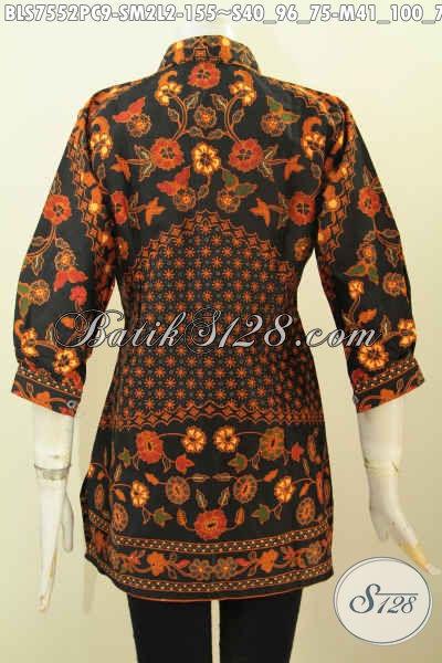 Sedia Blus Pastion Batik, Pakaian Kerja Wanita Muda Dan Dewasa Model Kerah Dengan Lengan Paspol Proses Printing Hanya 155K [BLS7552PC-M]
