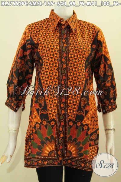 Koleksi Terbaru Blus Pastion Bahan Batik Printing Model Kerah Lengan Paspol, Menunjang Penampilan Wanita Karir Lebih Elegan [BLS7553PC-S , M , L]