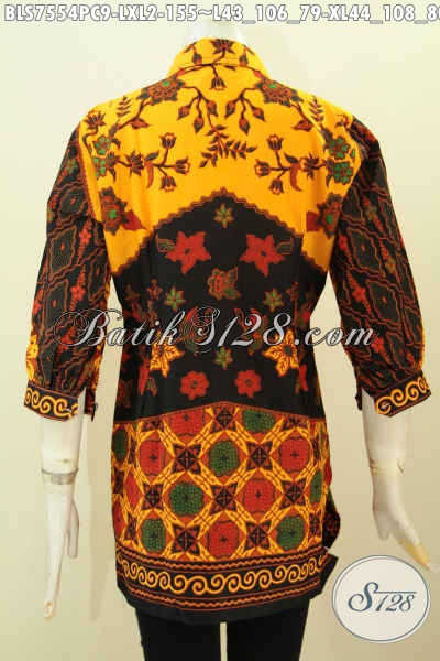 Blus Batik Pastion Wanita Dewasa, Pakaian Batik Lengan Dan Kerah Paspol Motif Klasik Printing, Penampilan Terlihat Elegan, Size XL