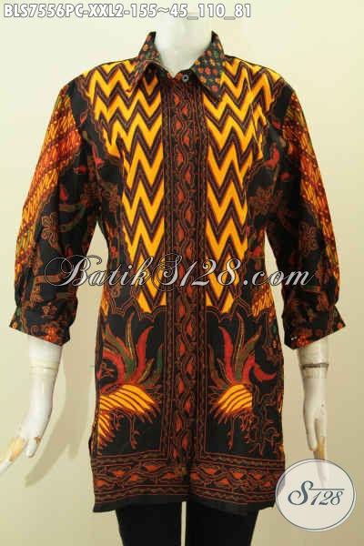 Baju Batik Model Kerah Lengan Paspol, Blus Pastion Big Size Buatan Solo Motif Klasik Printing, Di Jual Online 155K Untuk Wanita Gemuk[BLS7556PC-XXL]