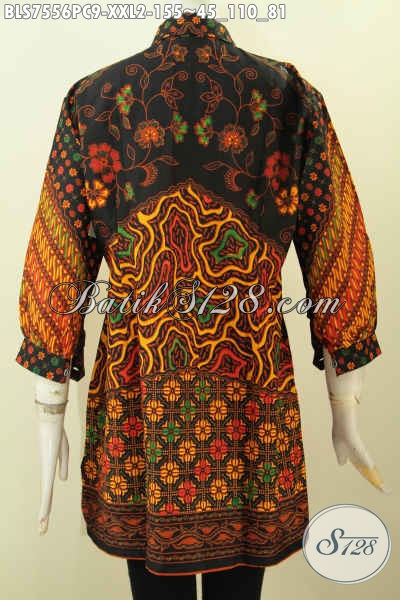 Blus Batik Wanita Gemuk, Pakaian Batik Elegan Motif Klasik Printing, Blus Pastion Kerah Lengan Paspol, Cewek Gemuk Tampil Anggun, Size XXL