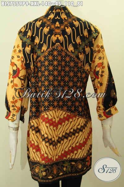 Blus Pastion Ukuran Jumbo, Baju Batik Big Size Elegan Nan Berkelas Untuk Tampil Gaya Dengan Lengan Paspol Harga 140K Motif Klasik Printing [BLS7559P-XXL]