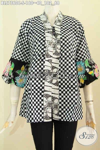 Baju Batik Wanita Blus Kenzi Model Kancing Banyak, Busana Wanita Berkelas Dengan Harga Terjangkau Motif Bagus Proses Cap Harga 160K [BLS7560C-S]