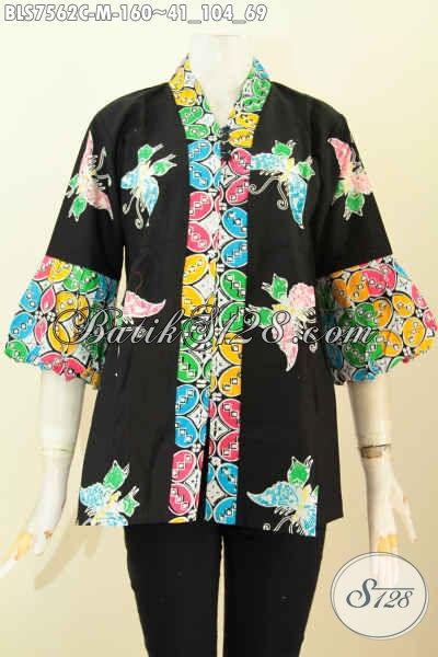 Baju Batik Proses Cap, Blus Kenzi Wanita Muda Model Kancing Banyaj Desain Menarik, Cocok Buat Kerja Dan Jalan-Jalan, Size M