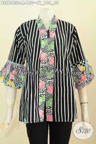 Baju Batik Wanita Buat Kerja, Blus Kanzi Kancing Banyak Kwalitas Istimewa Proses Cap, Modis Juga Untuk Hangout [BLS7563C-M]