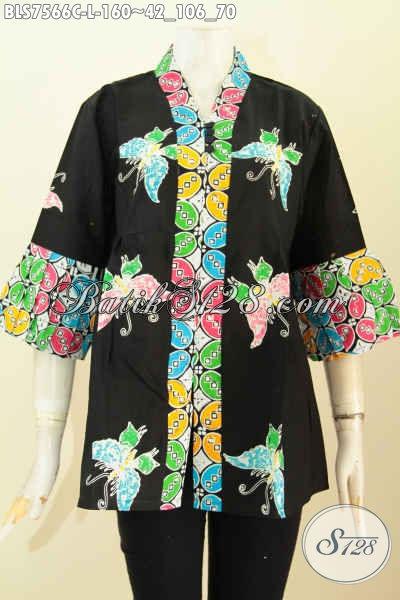 Blus Batik Keren Wanita Untuk Kerja Dan Hangout, Baju Batik Kenzi Kancing Banyak Motif Keren Proses Cap Hanya 160K, Size L