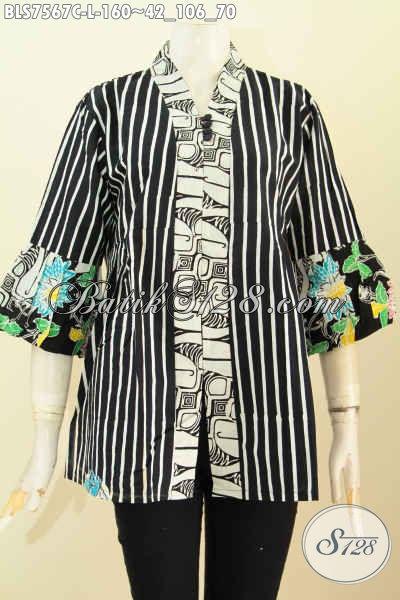 Model Baju Batik Wanita Kancing Banyak, Blus Kenzi Keren Buatan Solo Proses Cap, Pas Untuk Pesta, Size L
