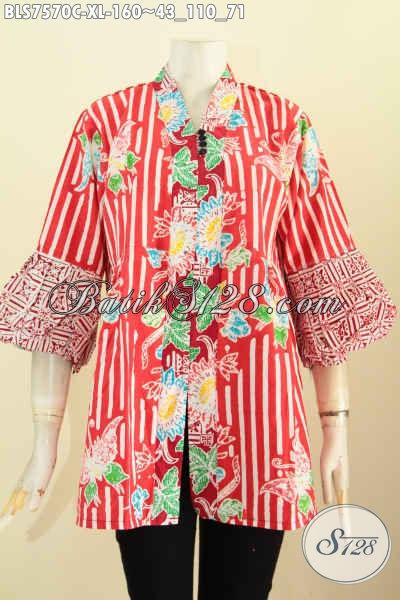 Blus Kenzi Batik Warna Merah Motif Unik, Pakaian Batik Jawa Tengah Nan Halus Proses Cap Buatan Solo Asli, Di Jual Online 160 Ribu, Size XL