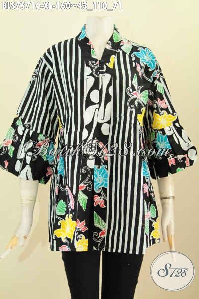 Baju Batik Wanita Dewasa Untuk Tampil Bergaya, Blsu Kenzi Modis Kwalitas Istimewa Bahan Adem Proses Cap Di Lengkapi Kancing Banyak Harga 160K, Size XL