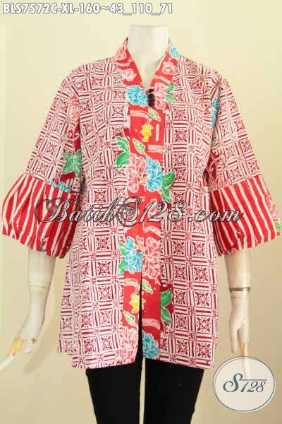 Baju Batik Wanita Warna Cerah, Blus Kenzi Kancing Banyak Bahan Adem Motif Bagus Proses Cap, Size XL