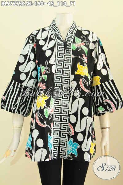 Jual Batik Blus Kenzi Trend Model Busana Batik Wanita Masa Kini, Pakaian Batik Modis Yang Cocok Buat Kerja Dan Santai Harga 160K [BLS7573C-XL]