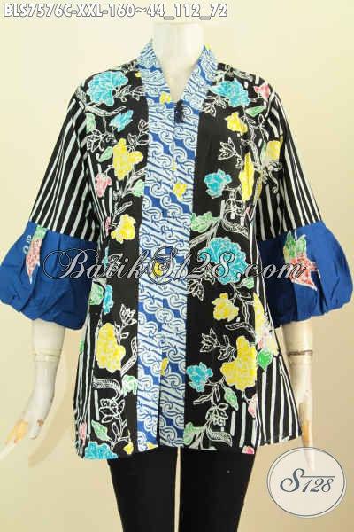 Baju Batik Kombinasi, Blus Kenzi Wanita Gemuk Motif Bagus Proses Cap Pakai Kancing Banyak, Tampil Mempesona, Size XXL