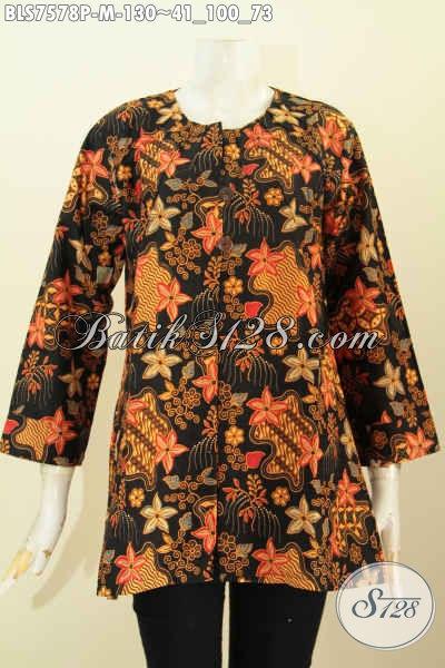 Blus Batik Elegan Tanp Krah, Baju Batik Jawa Terkini Kwalitas Istimewa Buatan Solo Asli Harga 130K, Size M
