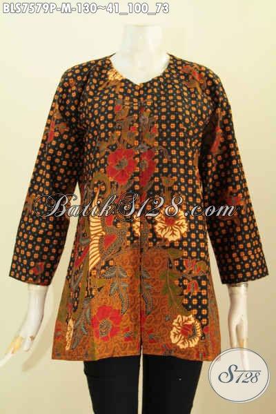 Batik Fashion Wanita Muda, Blus Kerja Tanpa Krah Desain Mewah Motif Bagus Proses Printing Hanya 130K [BLS7579P-M]